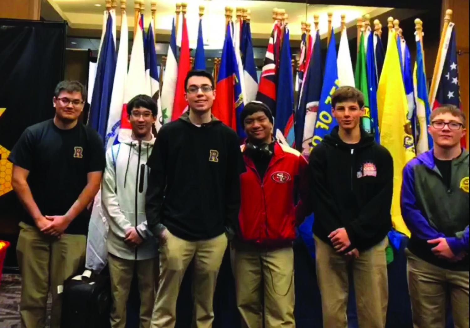 Matthew Driskill '18, John Regidor '18, Roman Peregrino '18, Jabriel Andrade '18, Michael Gray '20 and Dominic Borrego '20 competed for Archbishop Riordan High School at the National History Bowl Championships for the first time in school history.