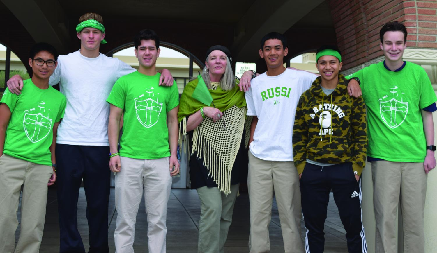 The House of Russi is represented by Brandan Lee '21, Tarik Shami '18, Hunter Harold '18, Provincial Valerie O'Riordan, Brandon Vargas '20, Zach Quanico '19, and Antonio Maffei '20.