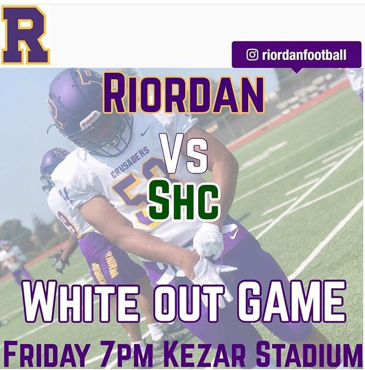 Riordan+vs+Sacred+Heart+Varsity+Football+10%2F19.+White+Out+Game%21