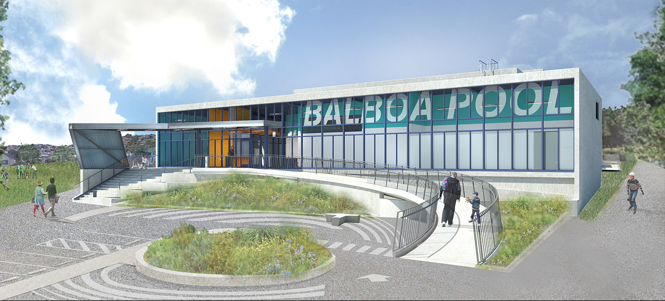The Balboa Pool was recently renovated, and the illustration at left shows what the finished product will look like.