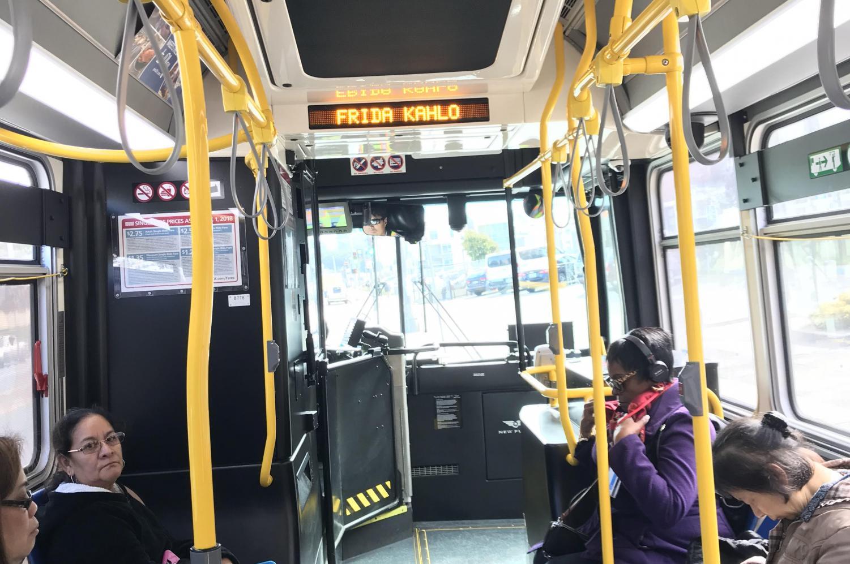 MUNI bus 43 has already changed Phelan Avenue to Frida Kahlo Way.