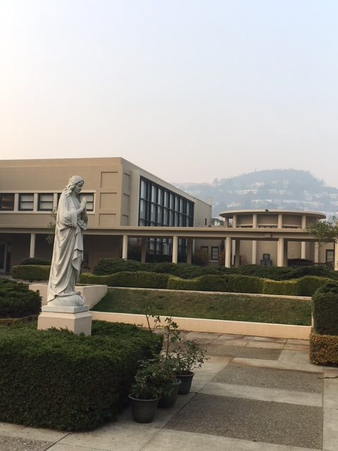 Smoke from the fires in Butte County obscure Mount Davidson, as seen from the school courtyard.
