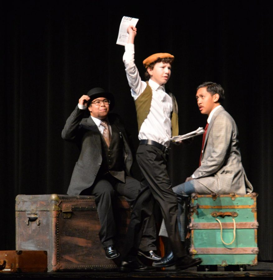"""Jonathan Torrea '21, Alec Douglas '21, and Jalen Viray '19 starred in """"The 39 Steps."""""""
