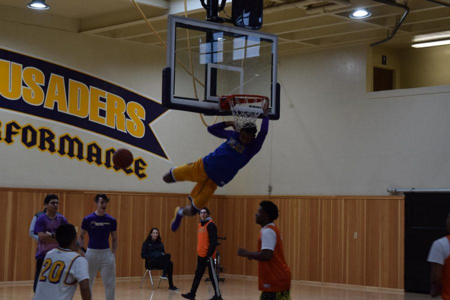De'Sean Johnson '19 throwing down a dunk in the Pilar vs Bolts Basketball game