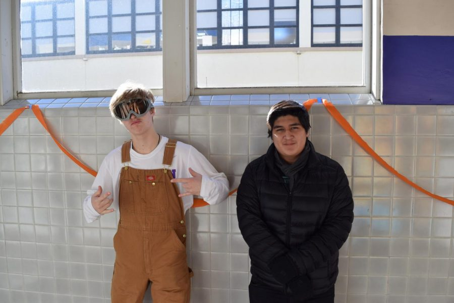 Thomas Monfredini '19 and Andy Ramirez '19 keeping warm in their snow day apparell