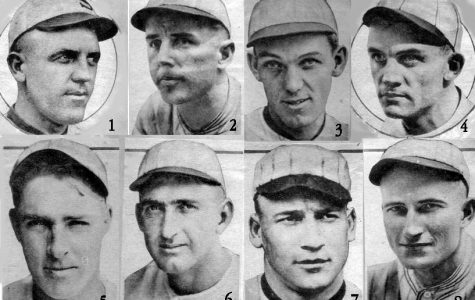 Eight members of the Chicago White Sox were accused of accepting money to throw the 1919 World Series. Risberg is 5, Jackson is 6