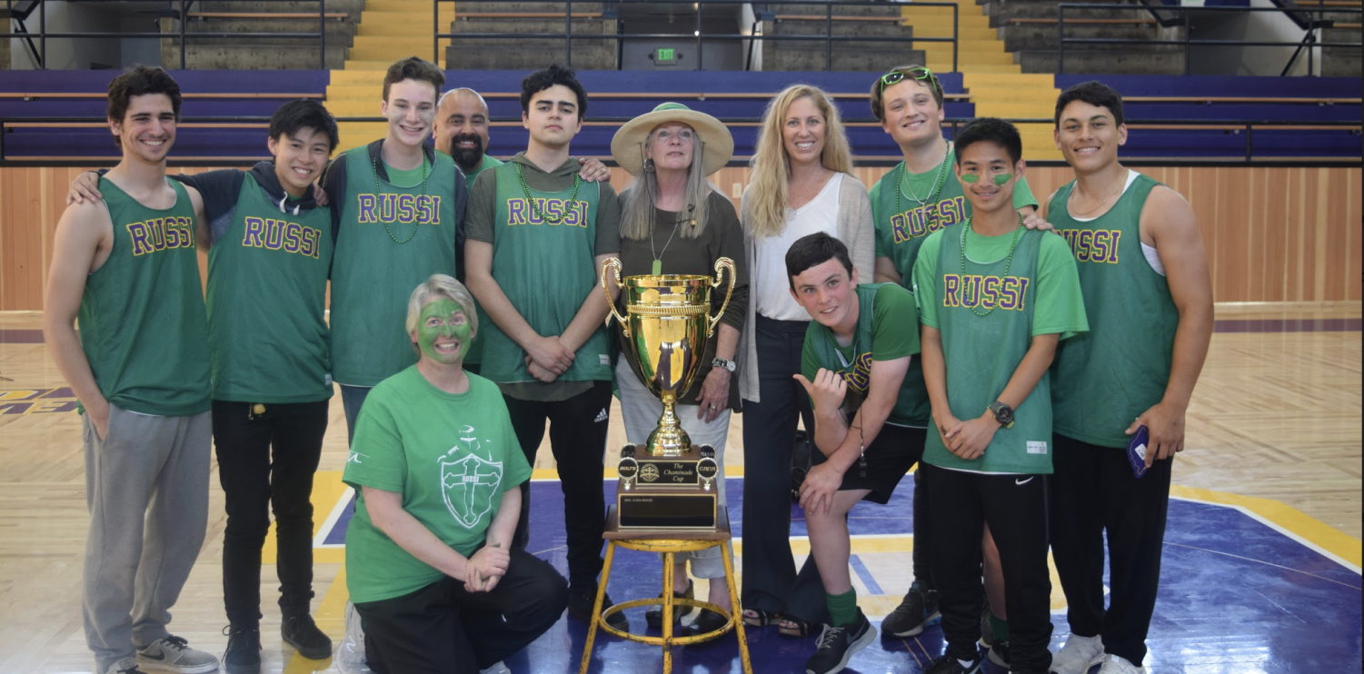 The House of Russi, led by Provincial Valerie O'Riordan (center), celebrates winning the Chaminade Cup.