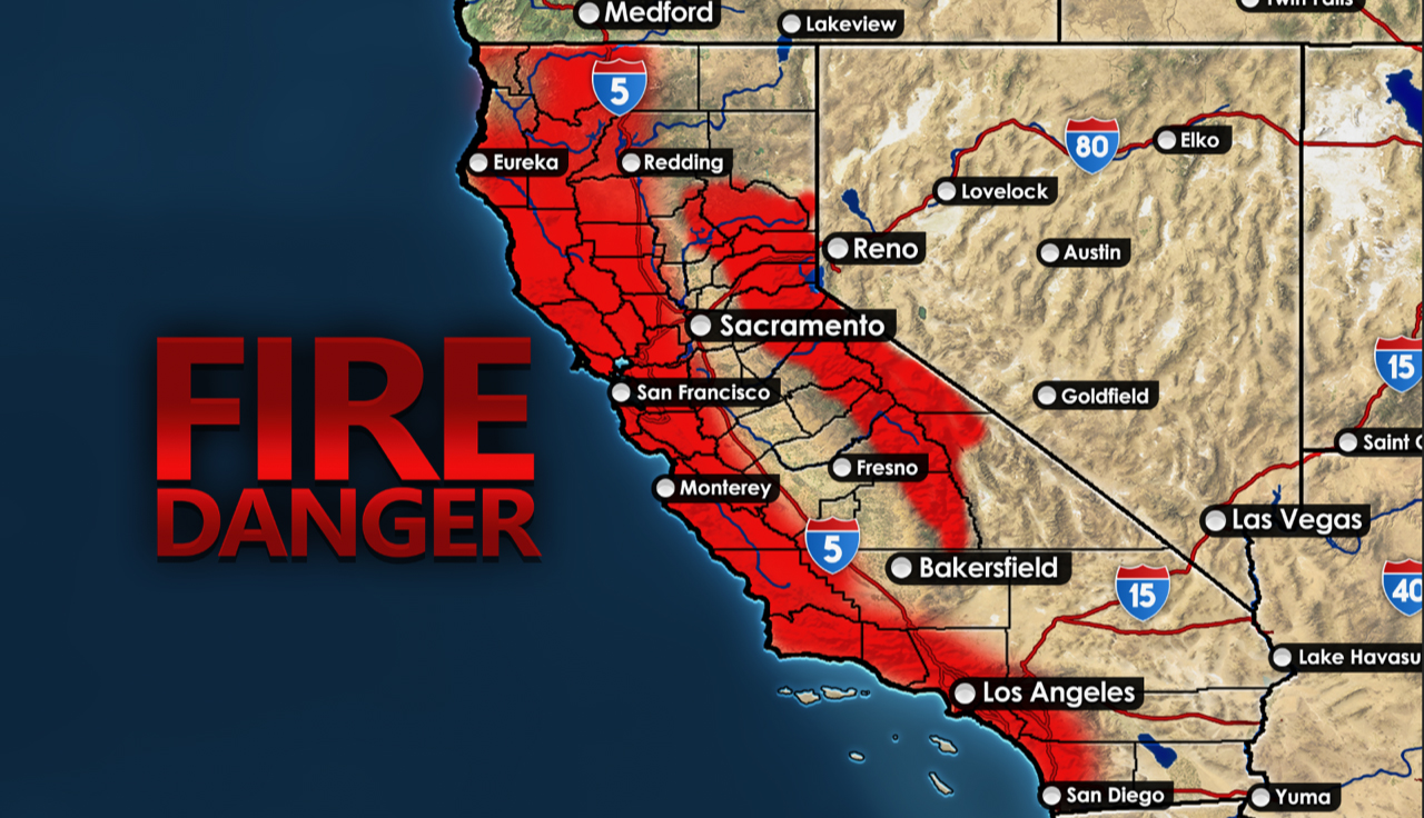 The red areas represent where a wildfire is most likely to spark this upcoming fire season due to fire conditions.