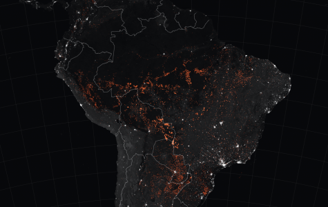 The red areas active fires in the Amazon rainforest.