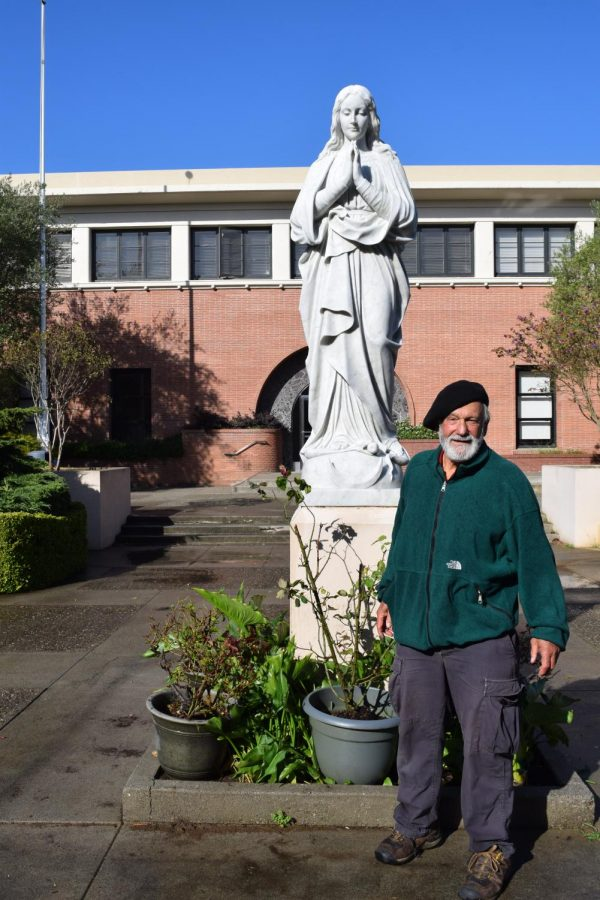 Reno Taini '59 donated his time to beautify the Mary statue.