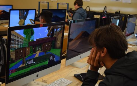 After school, engineering students play Minecraft in the MakerSpace.