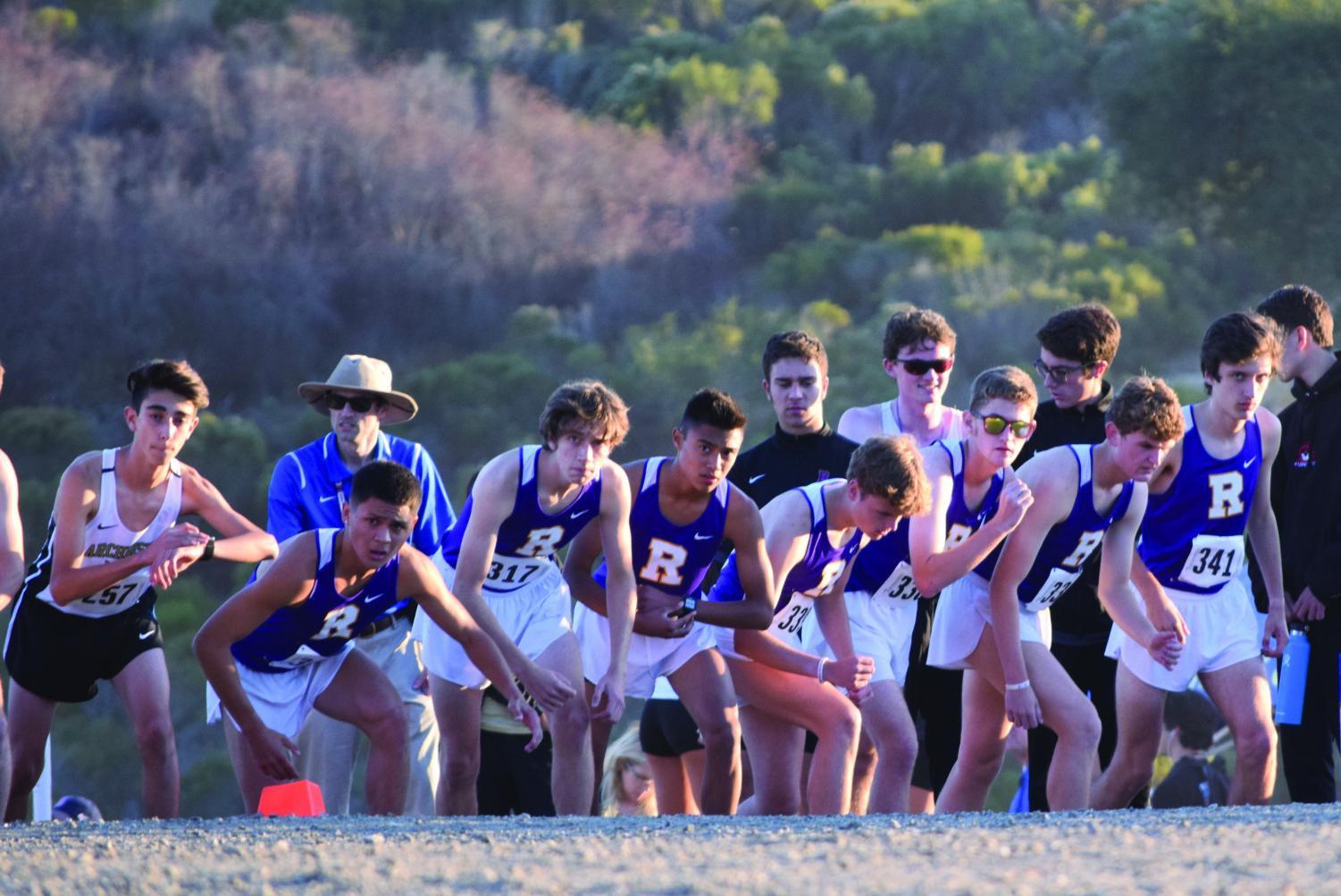 Cross Country runners prepare for the WCAL Championships at Crystal Springs.