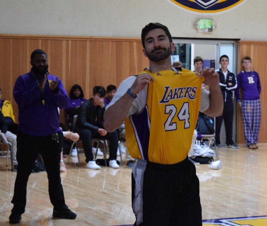 Religious Studies taecher Josh Keeney shows his love for Kobe Bryant.