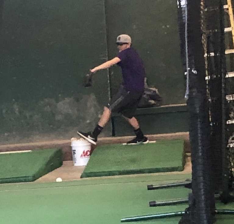 Steven+Rissotto+%E2%80%9820+throws+a+pitch+during+his+bullpen+session+before+the+mandated+shelter+in+place+order.