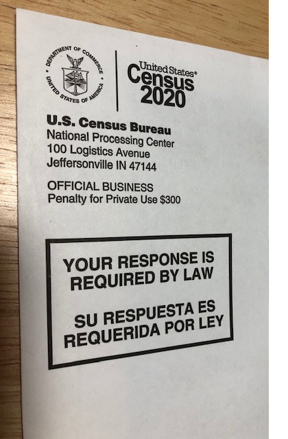 A glimpse of a copy of the 2020 Census, mailed to every household.