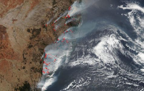 NASA Aqua Satellite shows data of the Australian bushfires. The highlighted areas in red are fire detections.
