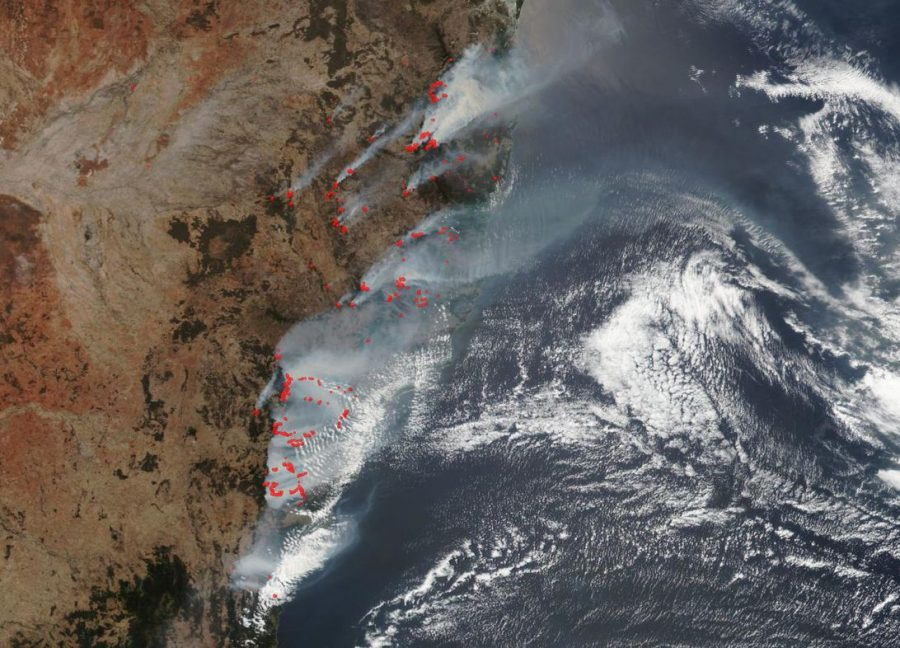 NASA+Aqua+Satellite+shows+data+of+the+Australian+bushfires.+The+highlighted+areas+in+red+are+fire+detections.+
