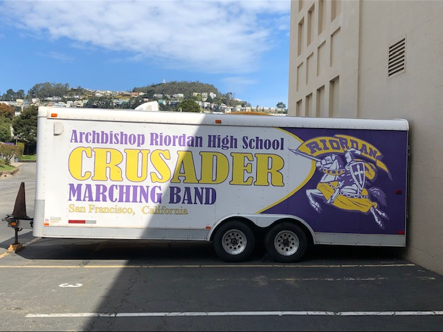 The Crusader Marching Band trailer has not moved from its spot in the parking lot since the school closed in early March.