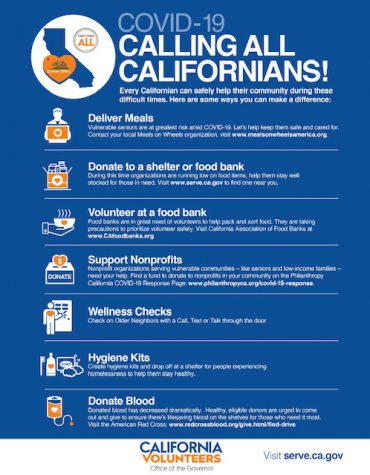 A list of different tactics any Californian could do to help their community during the pandemic
