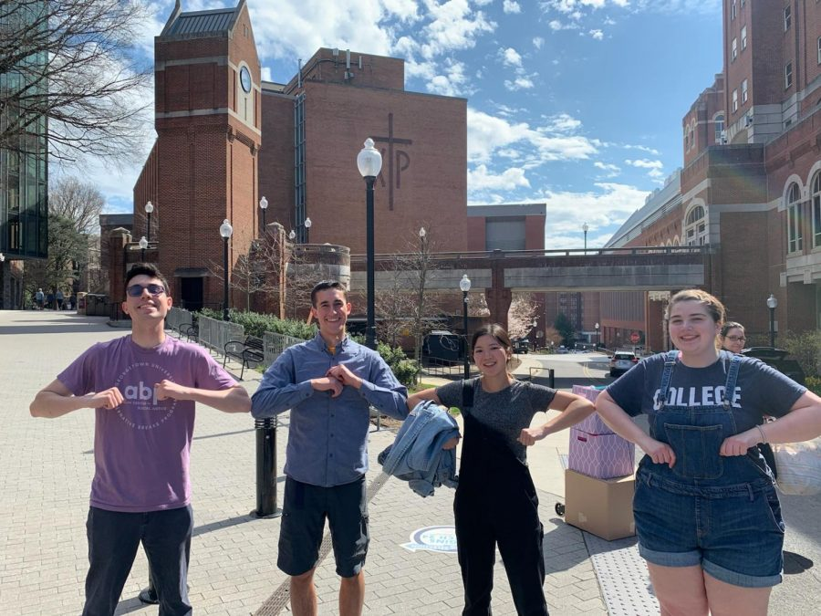 Roman Peregrino '18, cousin Brett, friends Ethan, Jaden, and Katie at Georgetown