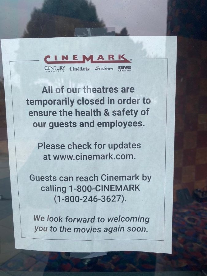 Movie theaters, like Cinemark on Junipero Serra Boulevard in Daly City, are closed until restrictions on large gatherings are lifted.
