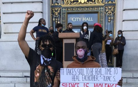 Andre Diaz Jr '20 and Jordan Noeuku '21 attended a youth rally for Black Lives Matter at San Francisco City Hall.