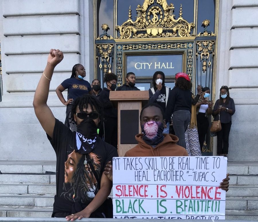 Andre+Diaz+Jr+%2720+and+Jordan+Noeuku+%2721+attended+a+youth+rally+for+Black+Lives+Matter+at+San+Francisco+City+Hall.