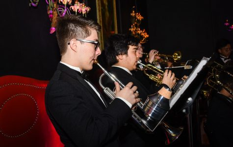 Dominic Borrego '20 and Tomizo Callejas '20 were members of the band who performed during the annual Purple and Gold Gala.