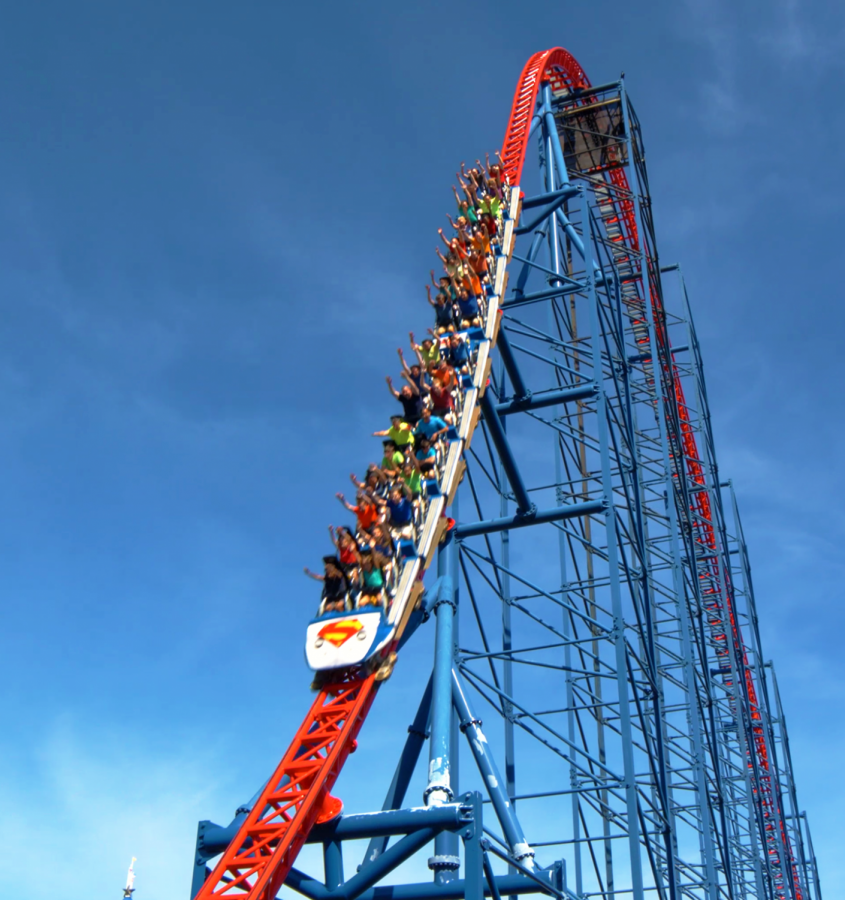 The+Superman+roller+coaster+has+a+huge+drop+that+makes+rides+feels+as+though+they+are+flying+like+the+Man+of+Steel.+