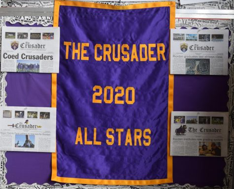 In recognition of their accomplishments during the school year, the Archbishop Riordan Administration presented The Crusader 2019-2020 staff with this banner.