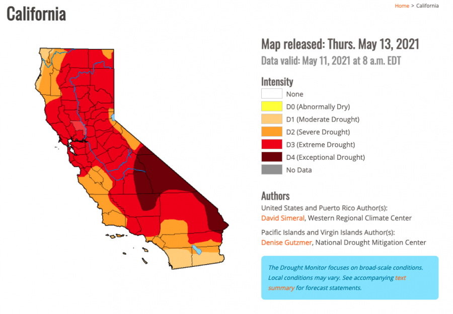 Almost all of the counties in California are under severe drought conditions or worse