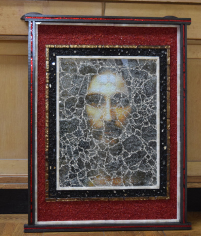 A glass mosaic depicting the face of Jesus was donated by the artist Dr. Richard Mani, and will be placed in a religious studies room some time in the future.