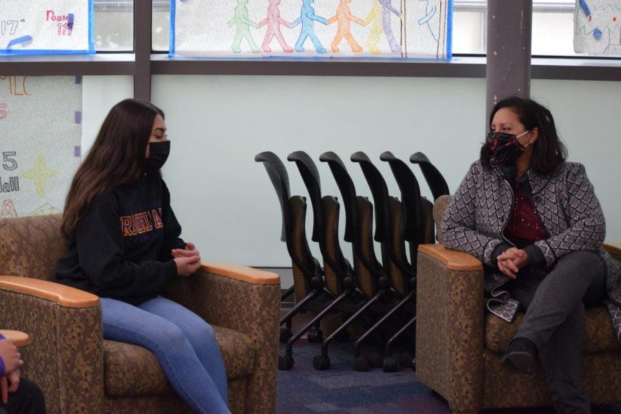 Ms. Melgar talks to Gigi DiGiulio '21 about the Riordan community.