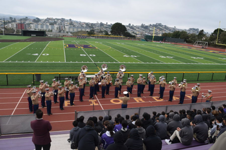 The Marine Corps, Band performed for the Crusader Marching Band today at Mayer Family Field.